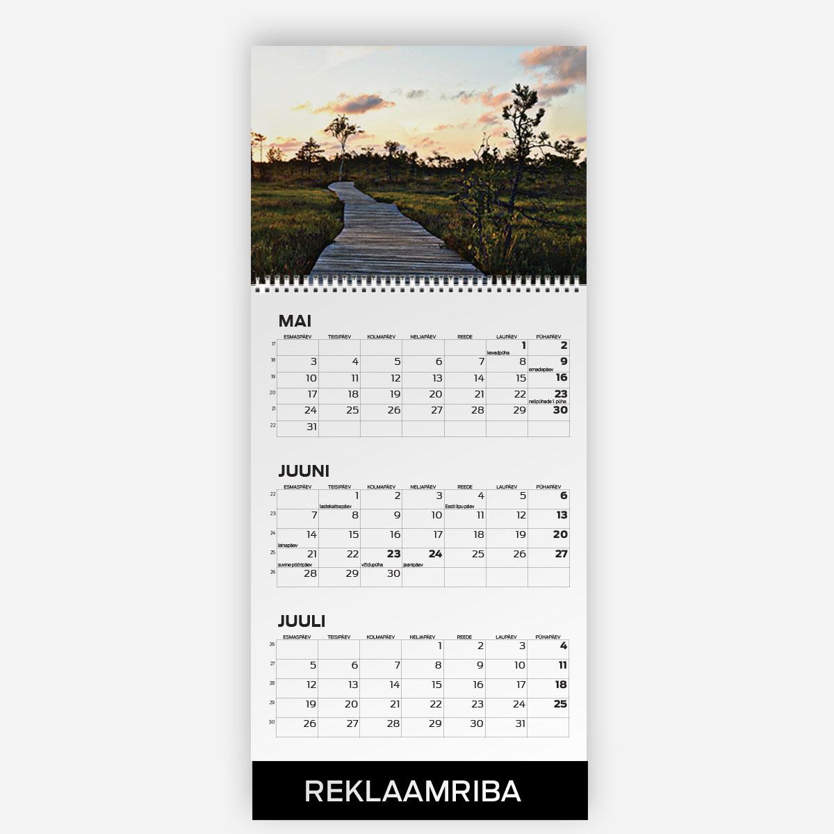 Triokalender A4 päisega ja reklaamribaga - oma disainiga kalender